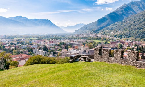 Landscape of Bellinzona city from Montebello Castle, Ticino, Swi